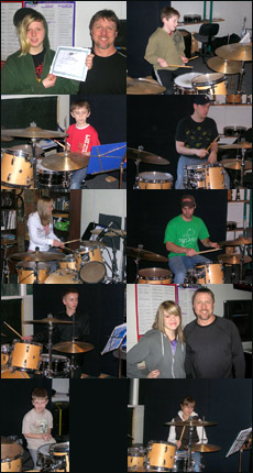 Photos of Ron Briggs drum lesson students